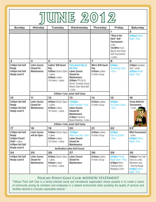 June Calendar New Orleans : What s new event schedule pelican point golf community